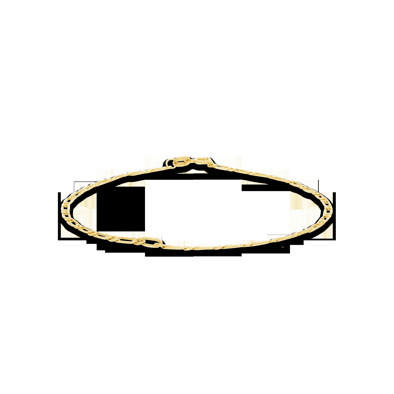 d34897b6973f 9ct Gold 19cm Figaro Bevelled Link Bracelet. - NWJ