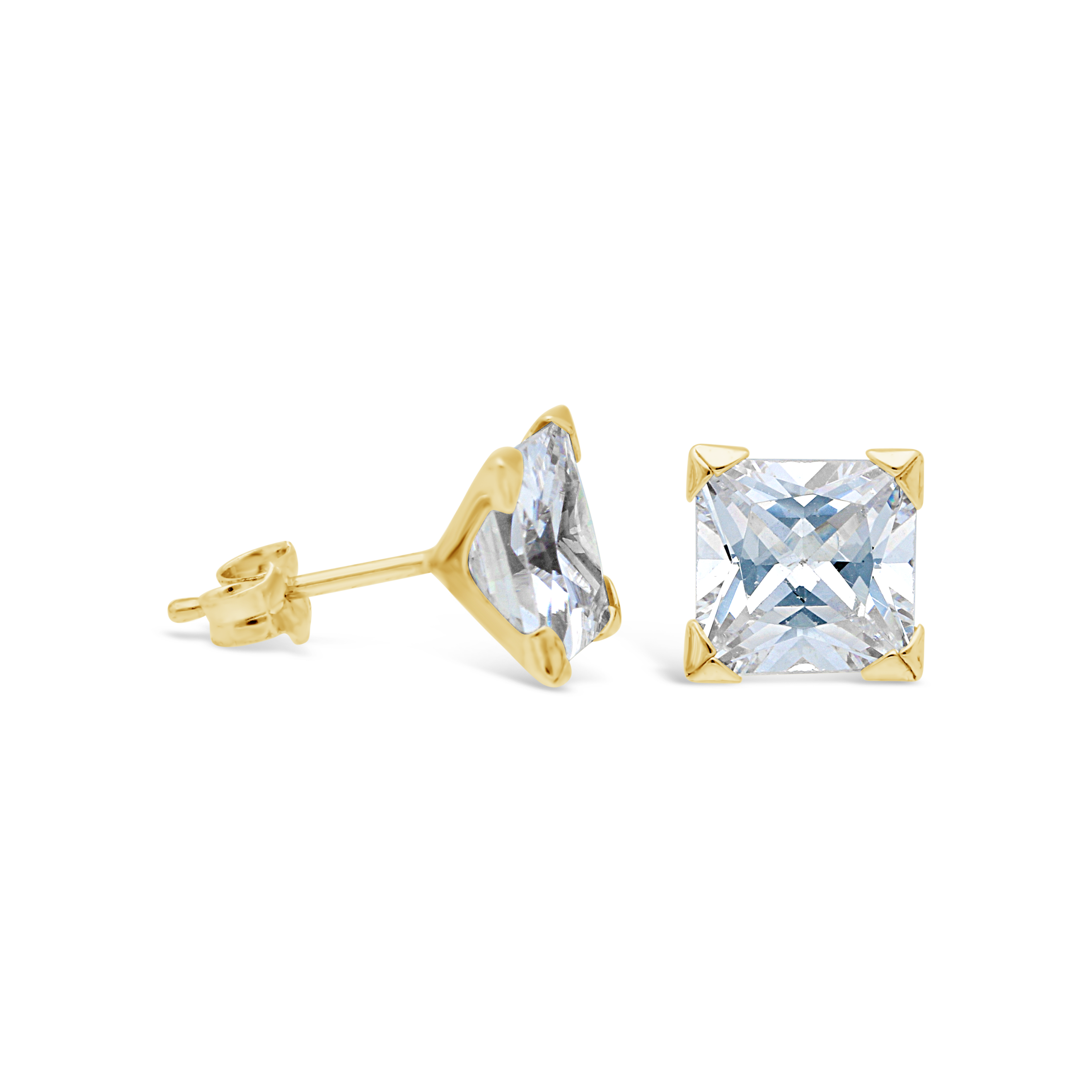 0eda889ff 9ct Gold 7mm Square Cubic Zirconia Stud Earrings - NWJ