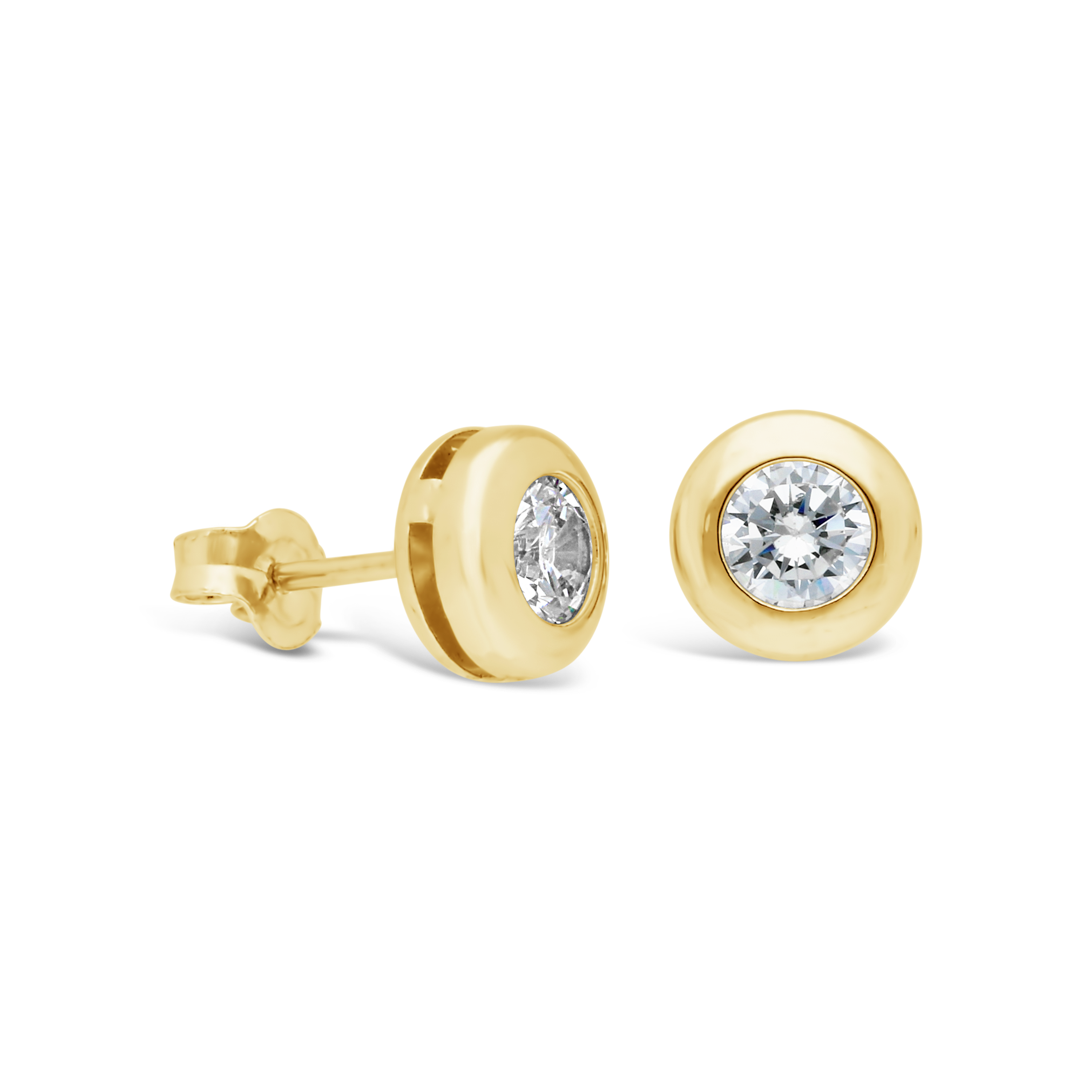 cfdf7b964 9ct Gold 4mm Tube Set Cubic Zirconia Stud Earrings - NWJ