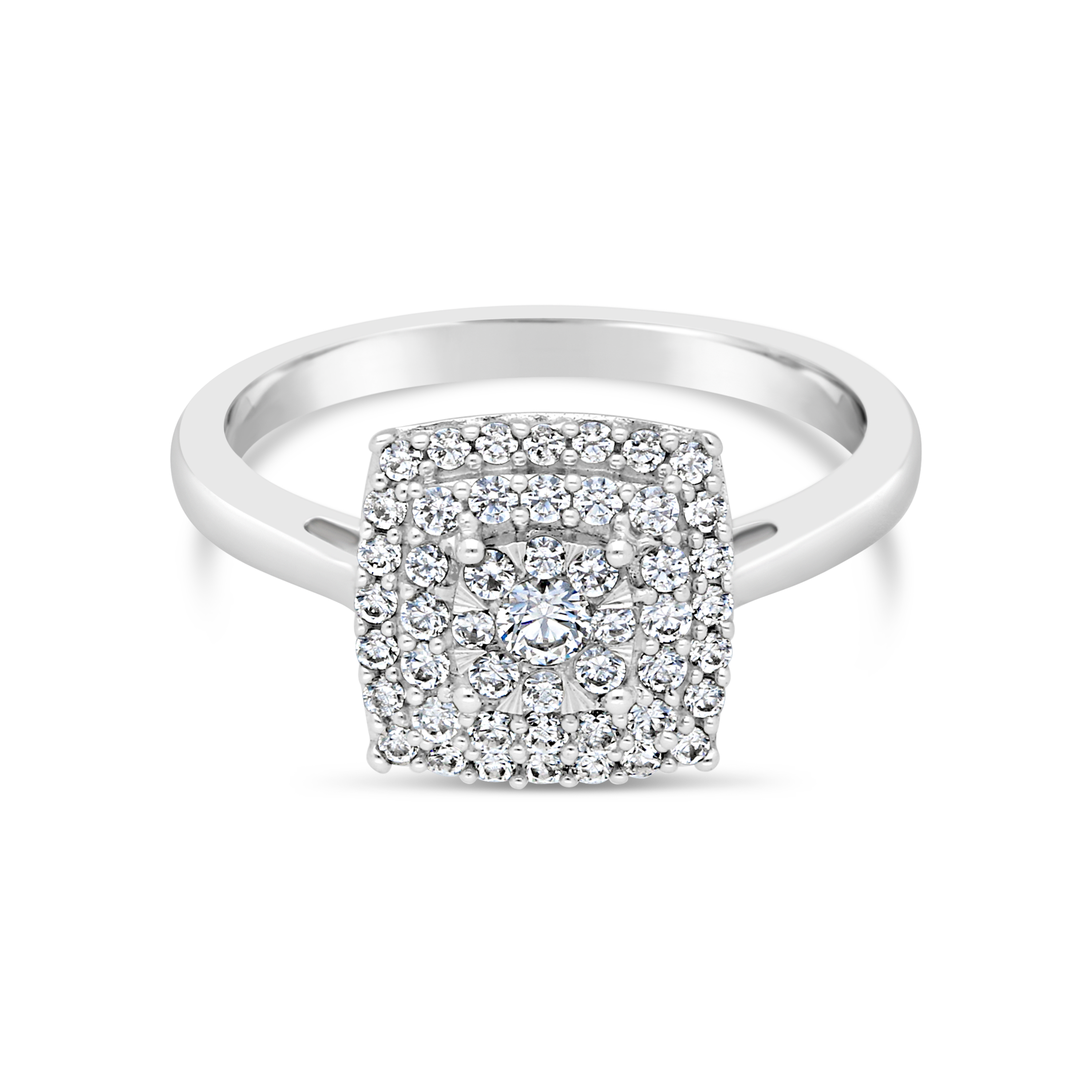 9ct White Gold Square 0.50ct Diamond Cluster Ring
