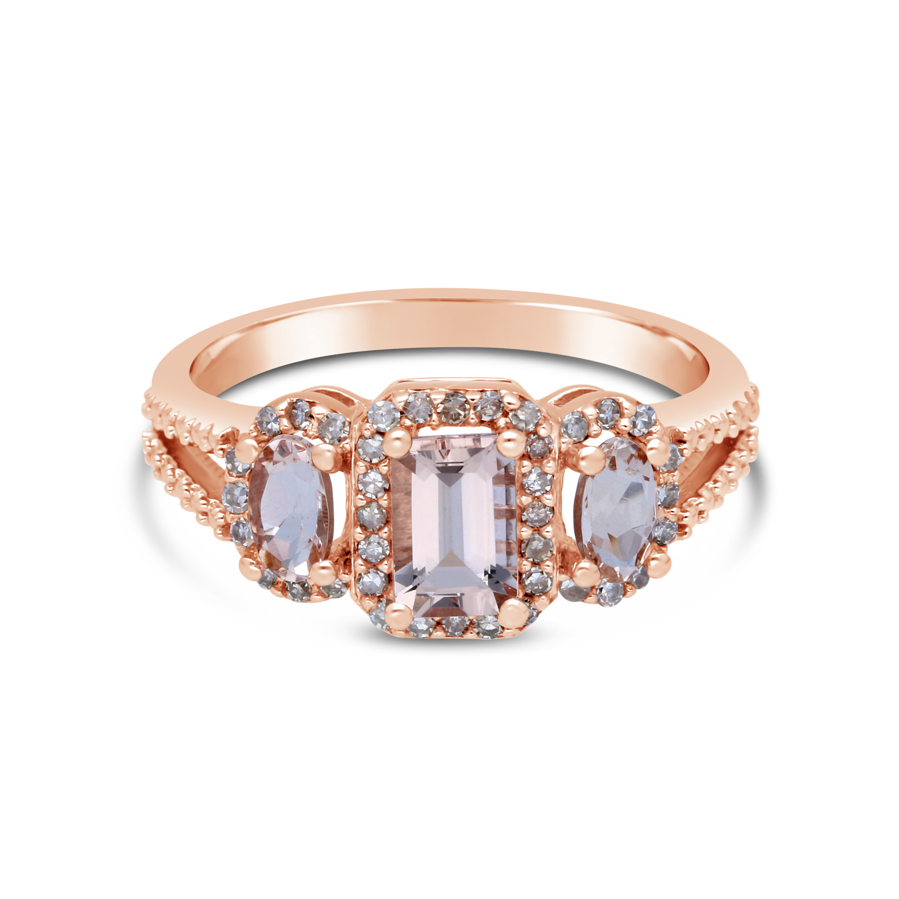 Rose Gold Enement Ring With Morganite Stone | 9ct Pink Gold 3 Stone Morganite Diamond Ring Nwj