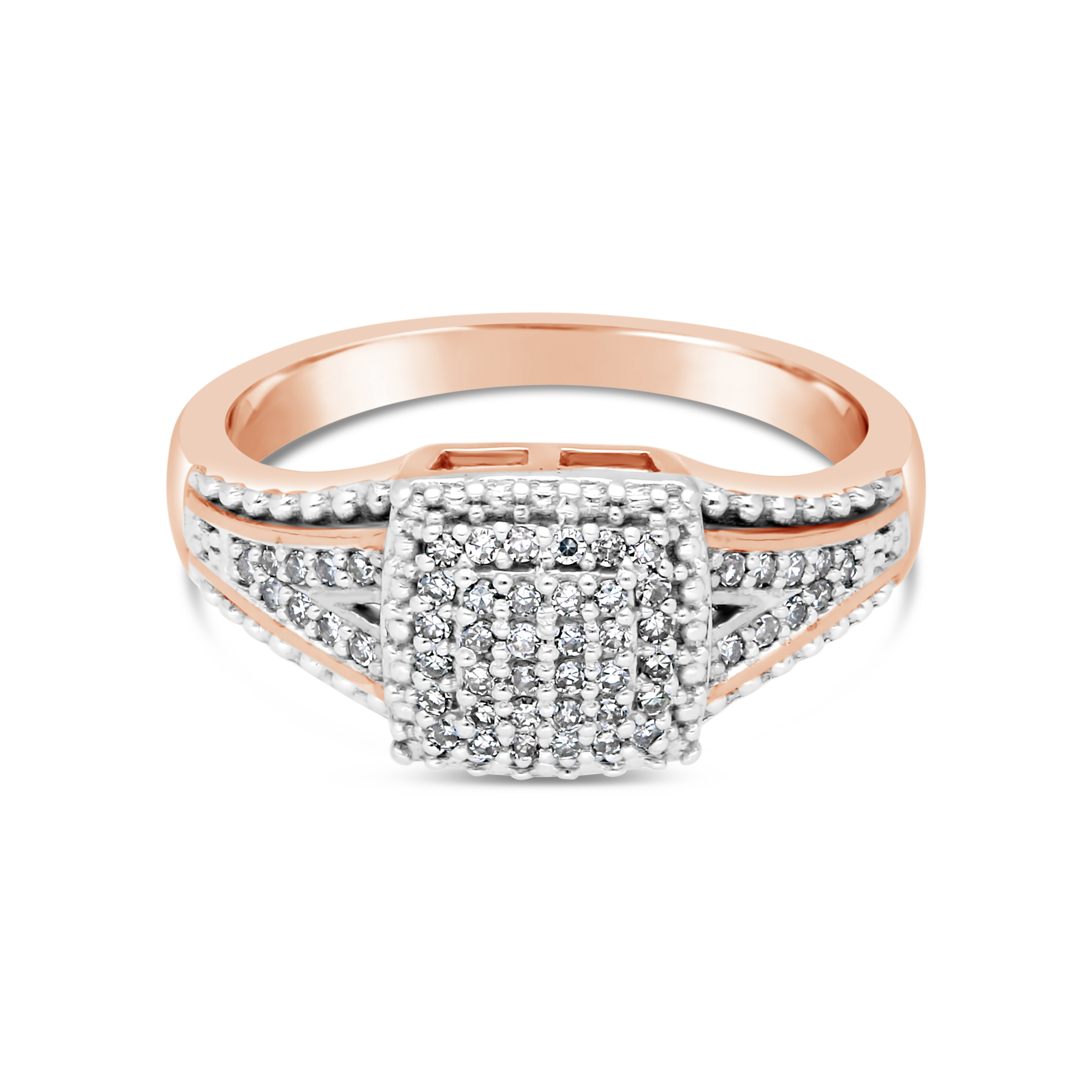 9ct Rose Gold Diamond Square Cluster Ring