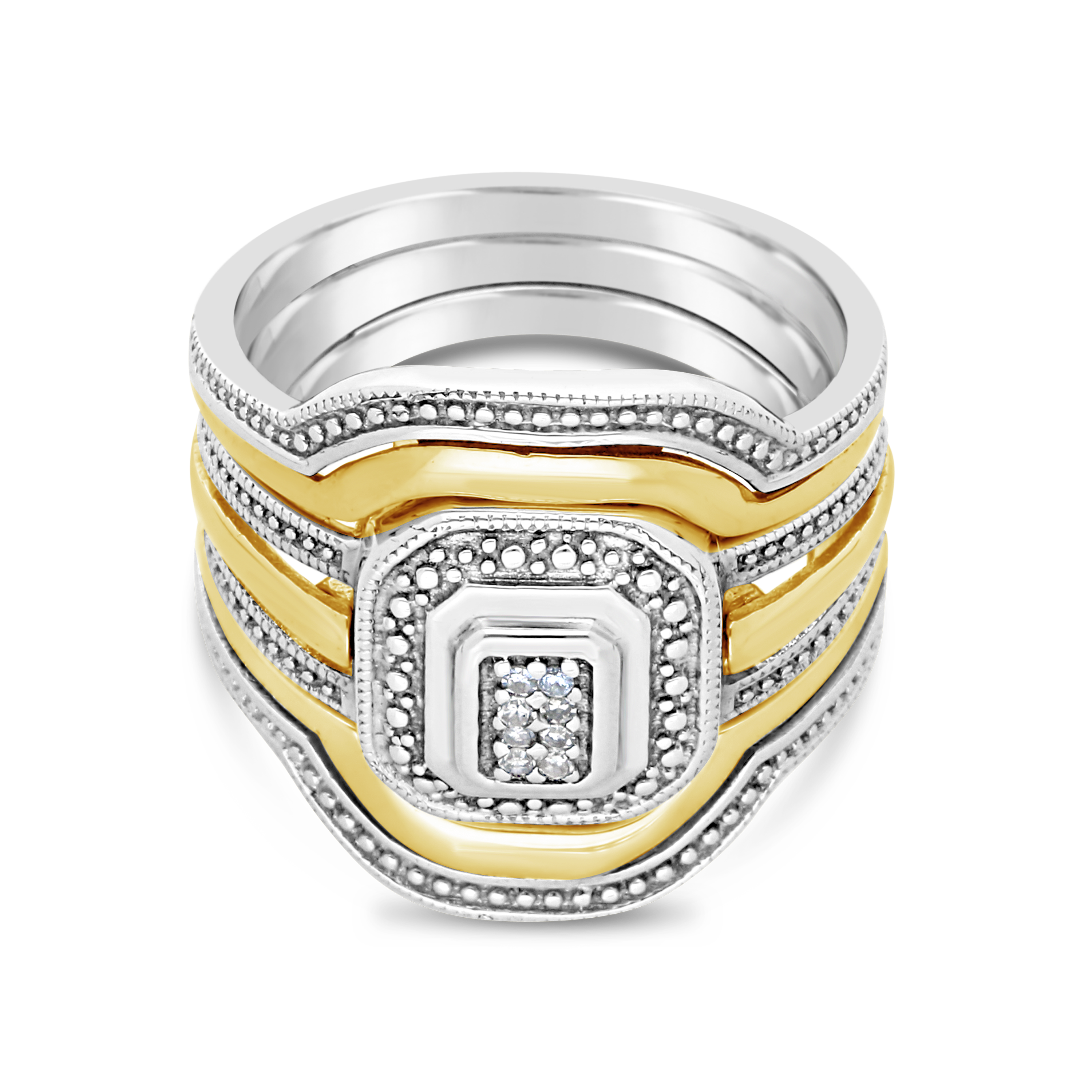 Silver And 9ct Gold Broad Diamond Trip Set Ring