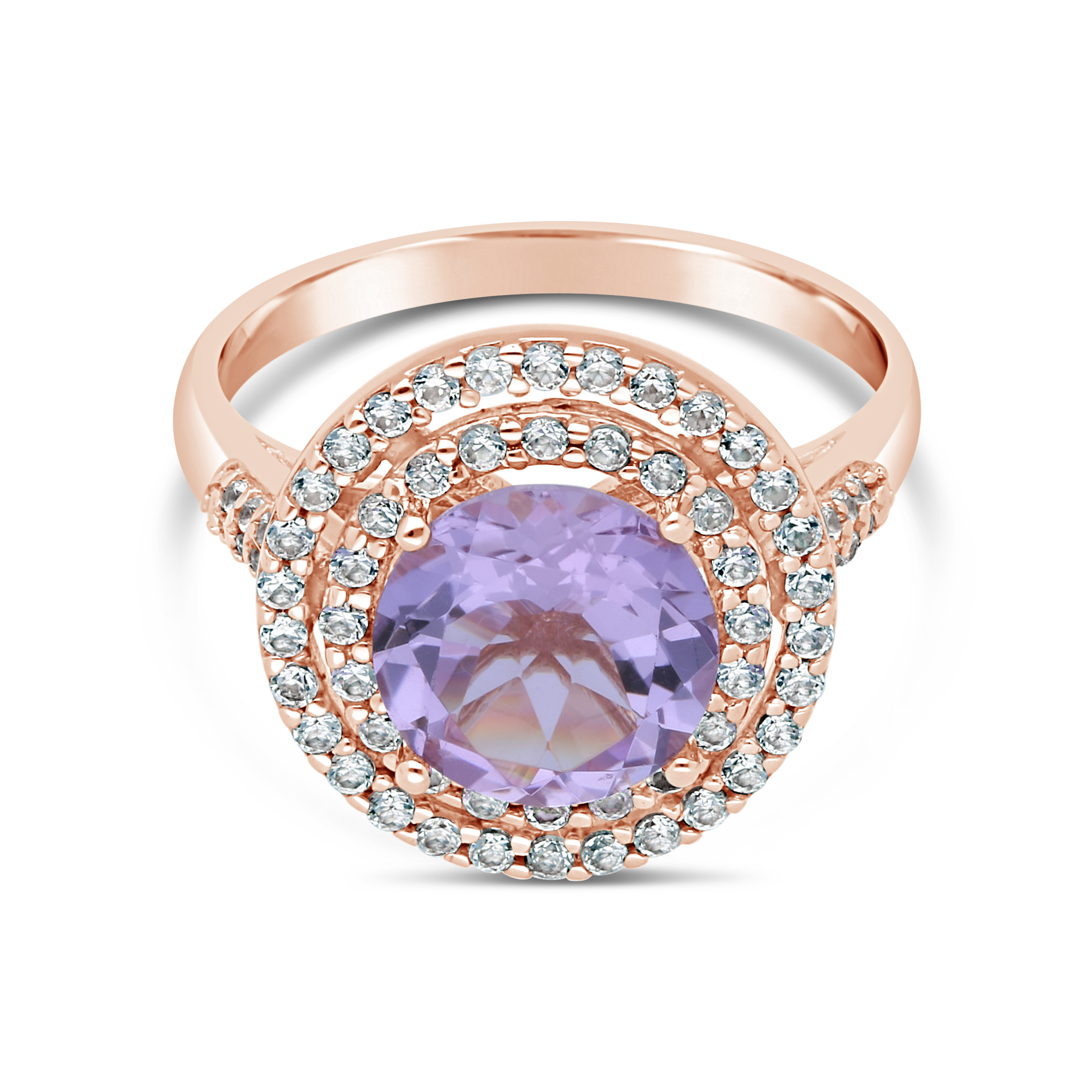 9ct Rose Gold Pink Amethyst, Diamond & White Sapphire Ring