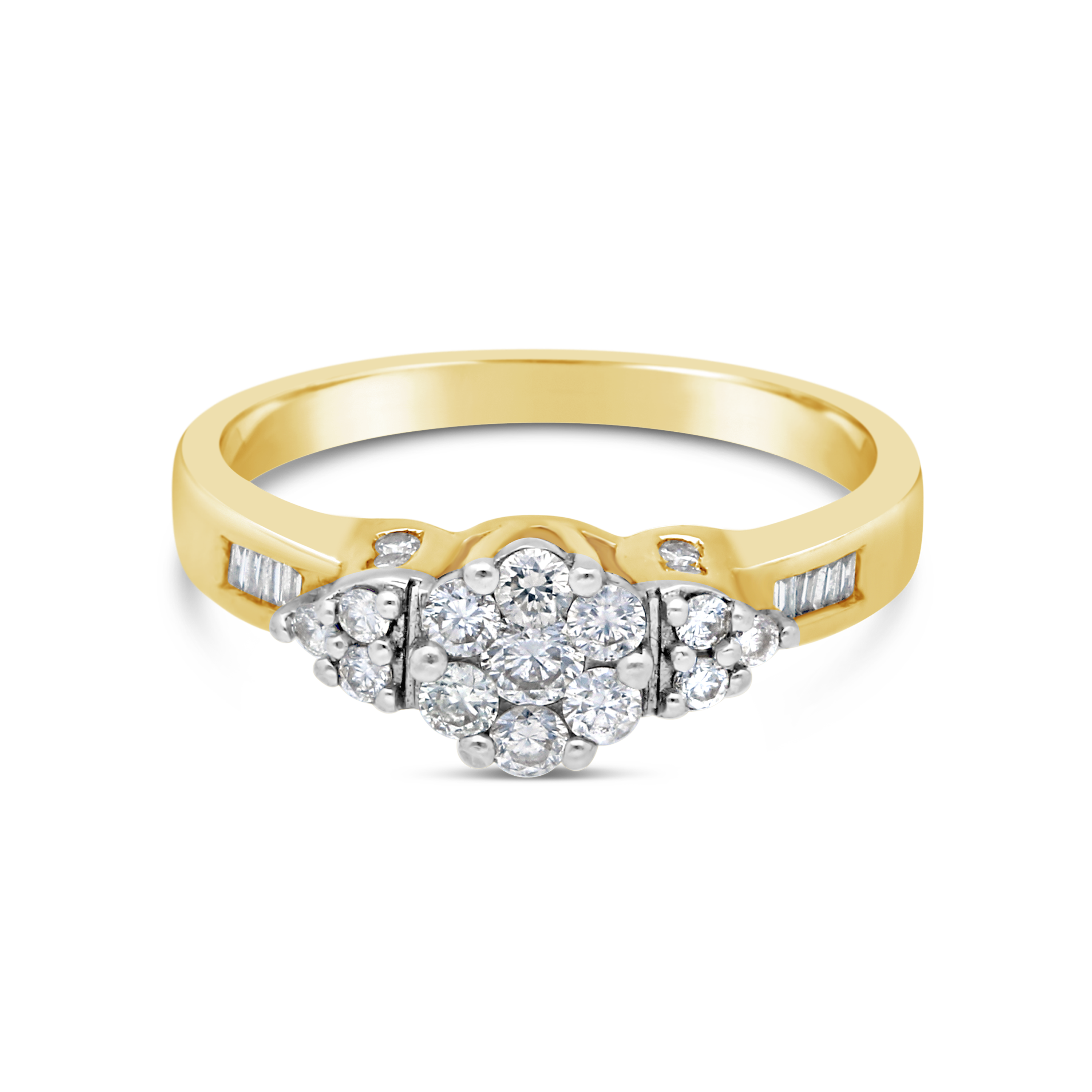18ct Gold Cluster And Baguette 0.50ct Diamond Ring.