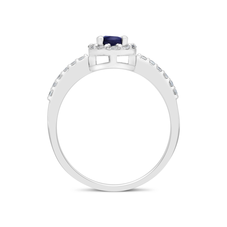 7493fc382 9ct White Gold Blue Sapphire, White Sapphire & Diamond Ring - NWJ