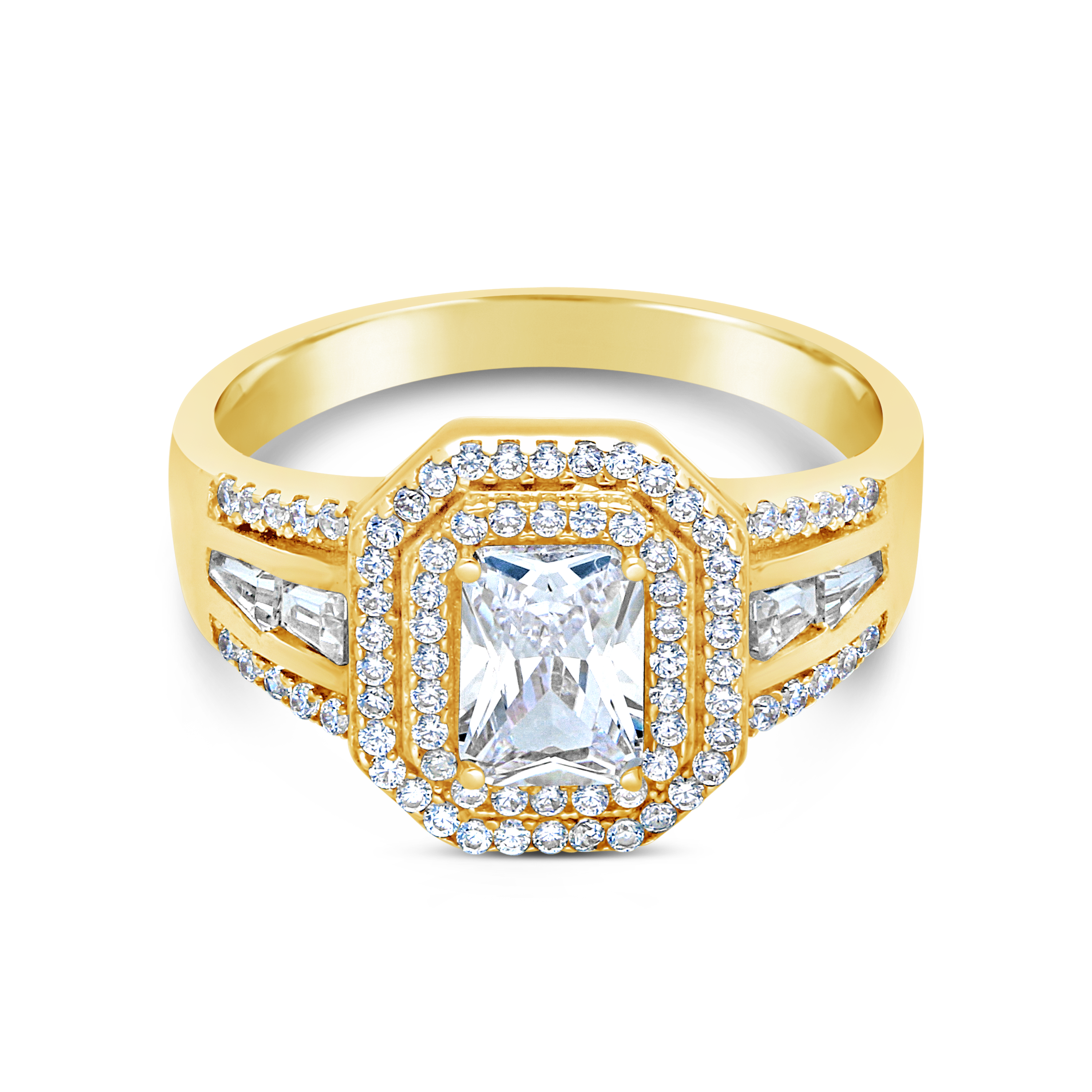 be3b3d6f78e2 9ct Gold Square Cubic Zirconia Ring - NWJ