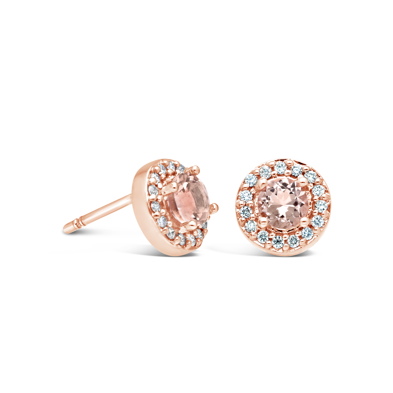 9ct Rose Gold Morganite Diamond Earring Nwj