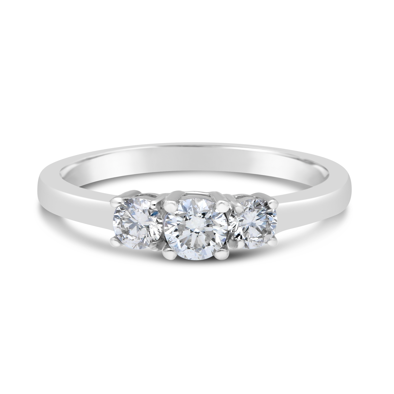 18ct White Gold Trilogy 0 75ct Diamond Ring Nwj