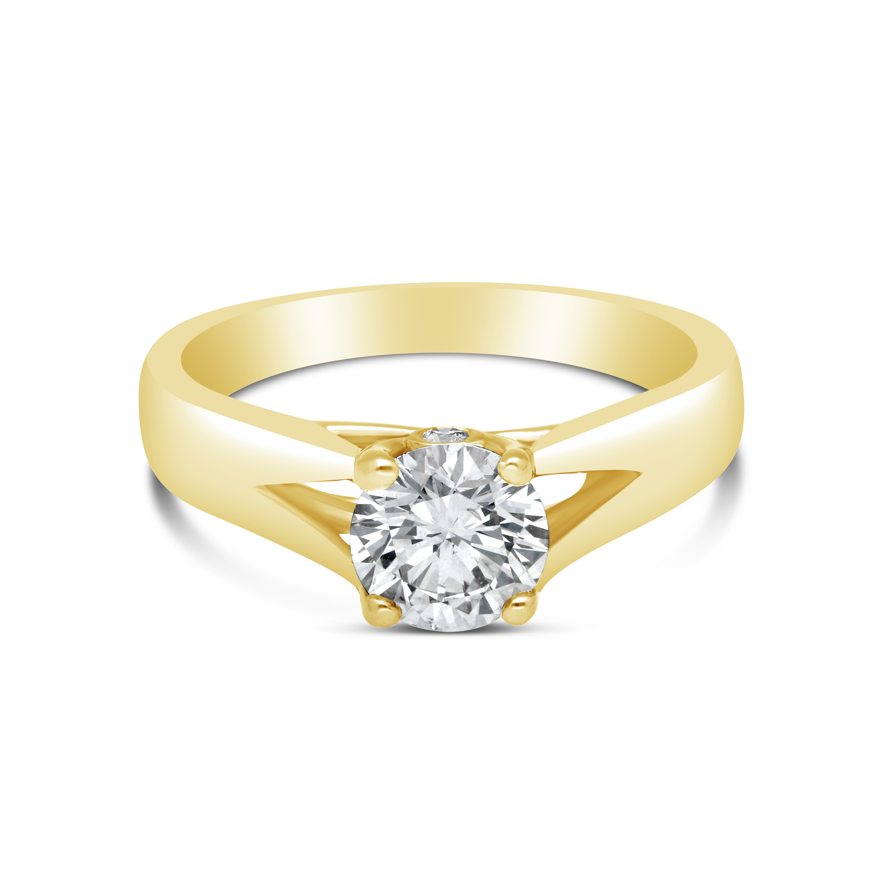 18ct Round Cut Diamond 1.02 Ct Solitaire Ring With Side