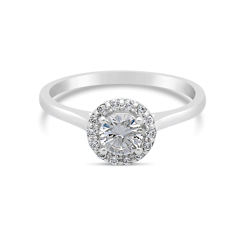 f880d327b84 18ct White Gold 0.50ct Halo Diamond Ring