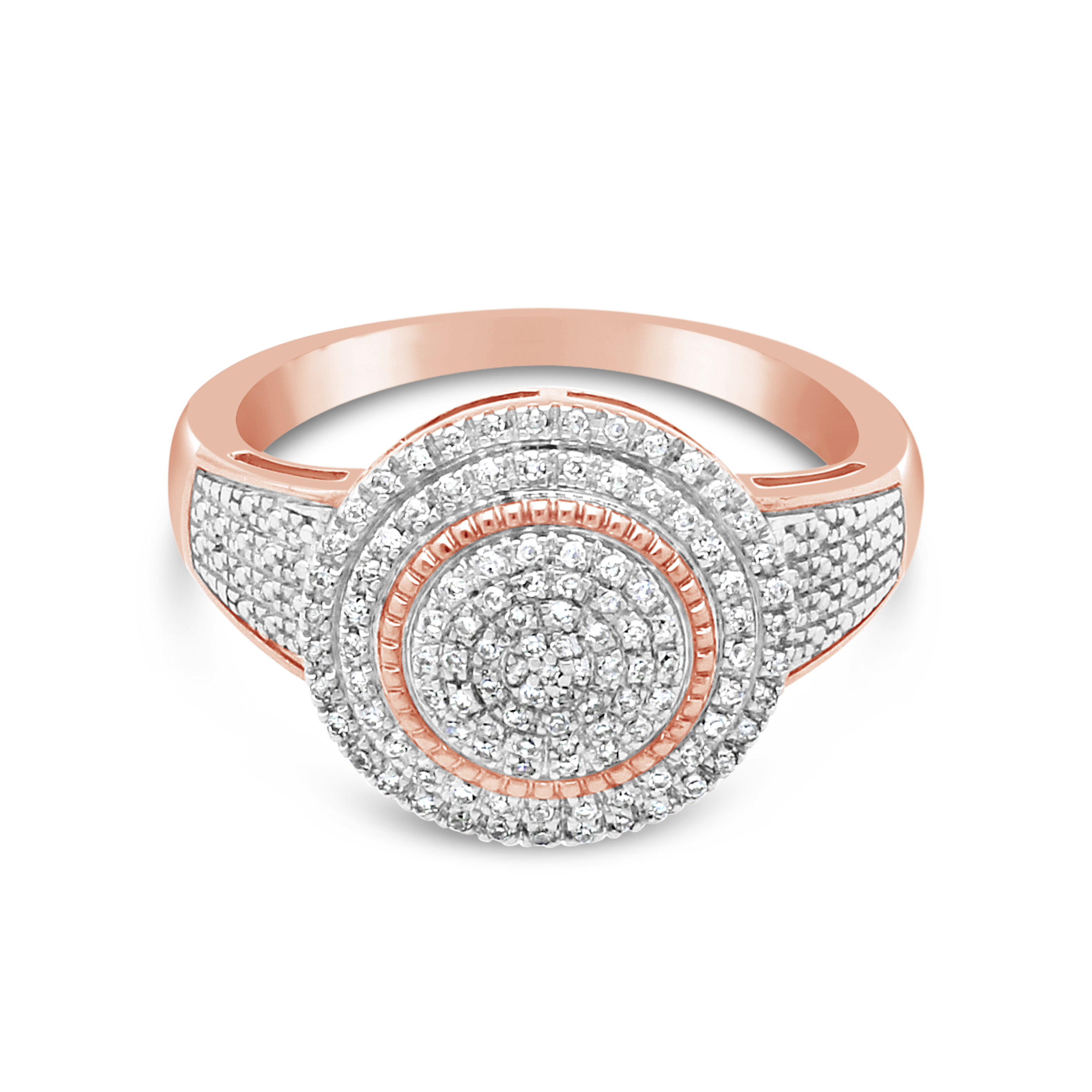 6f1e2fbe5a98f 9ct Pink Gold Round Fancy Diamond Cluster Ring