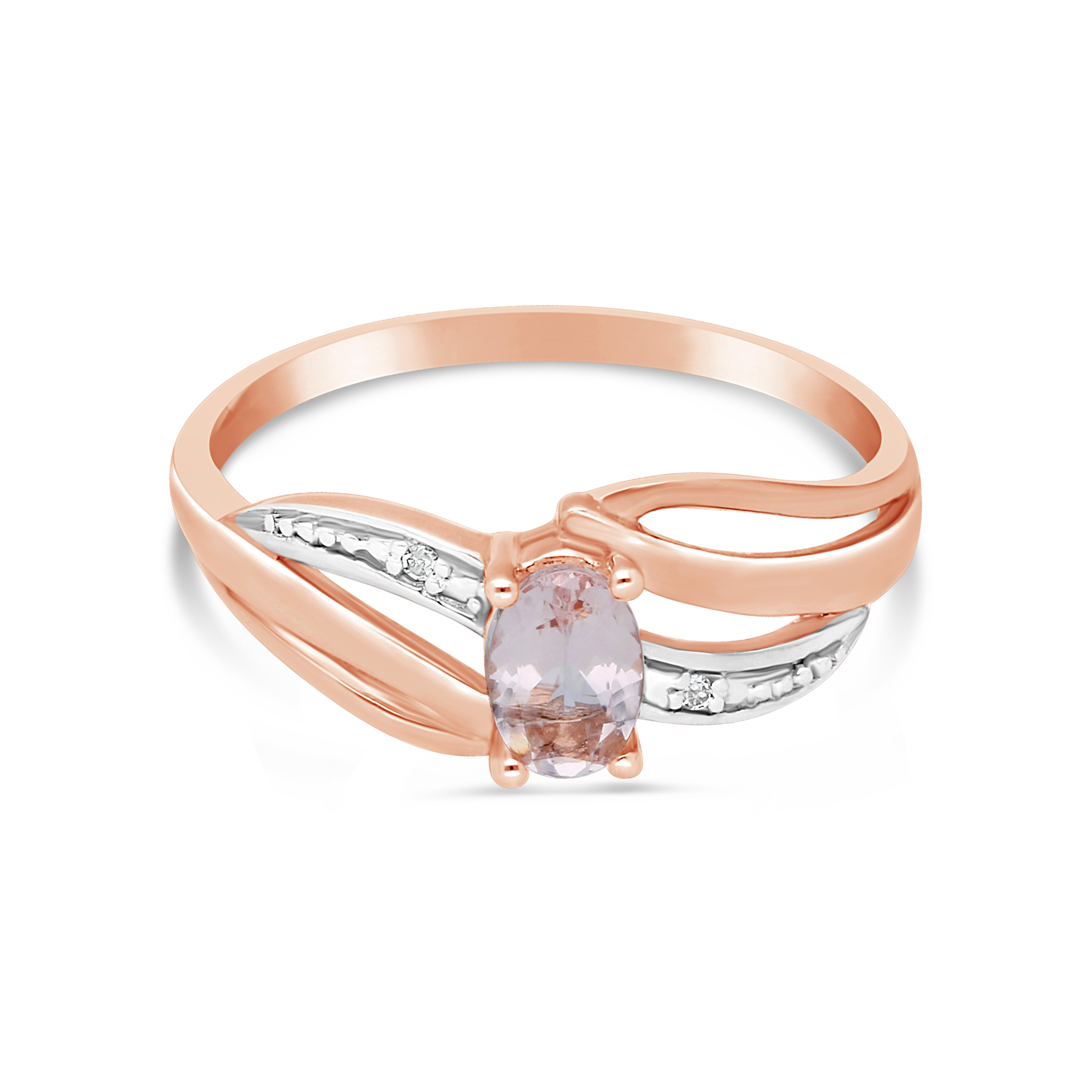 9ct Rose Gold Oval Morganite And Diamond Dress Ring