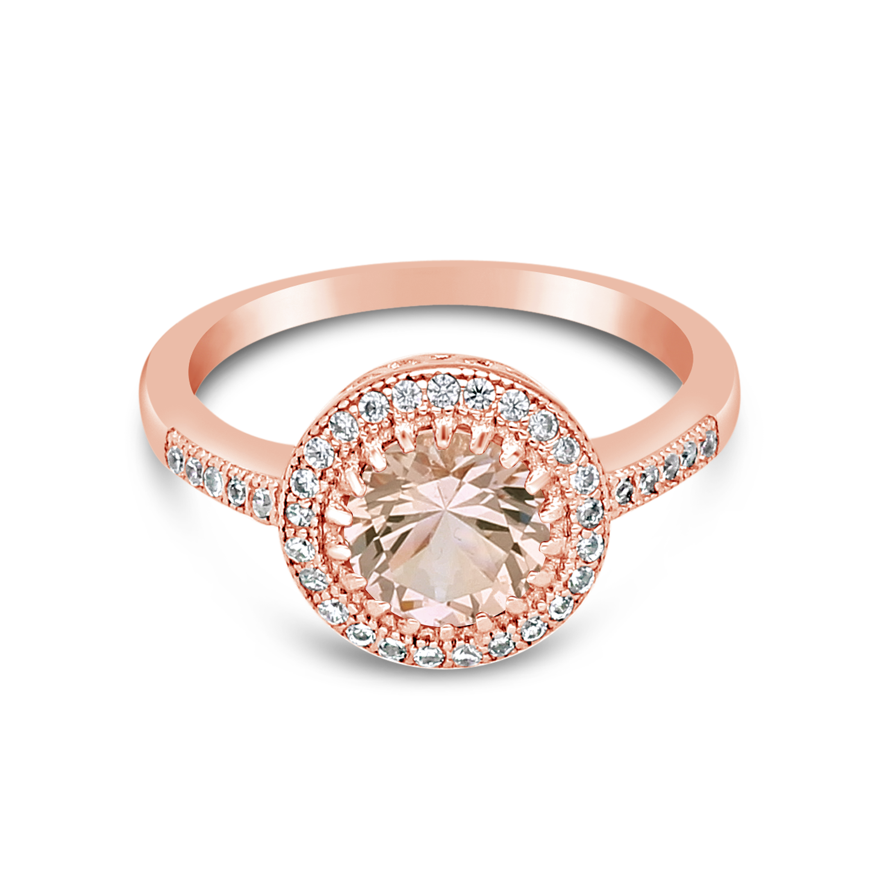 Silver Rose Gold Plated White & Morganite Colour Cubic