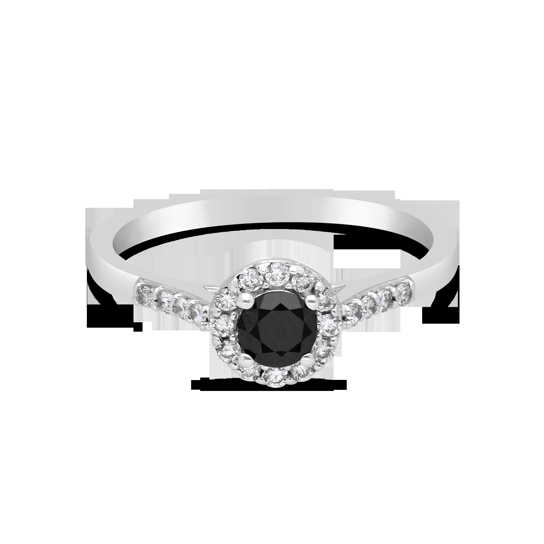 9ct White Gold Black Diamond Halo Ring Nwj