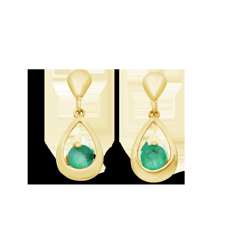 0029875fd 9ct Gold Created Emerald Fancy Open Pear Shape Drop Earring - NWJ