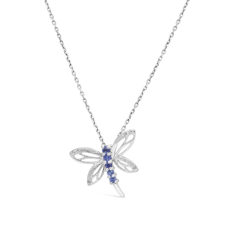 c30de1f9c 9ct White Gold Tanzanite And Diamond Dragonfly Pendant - NWJ