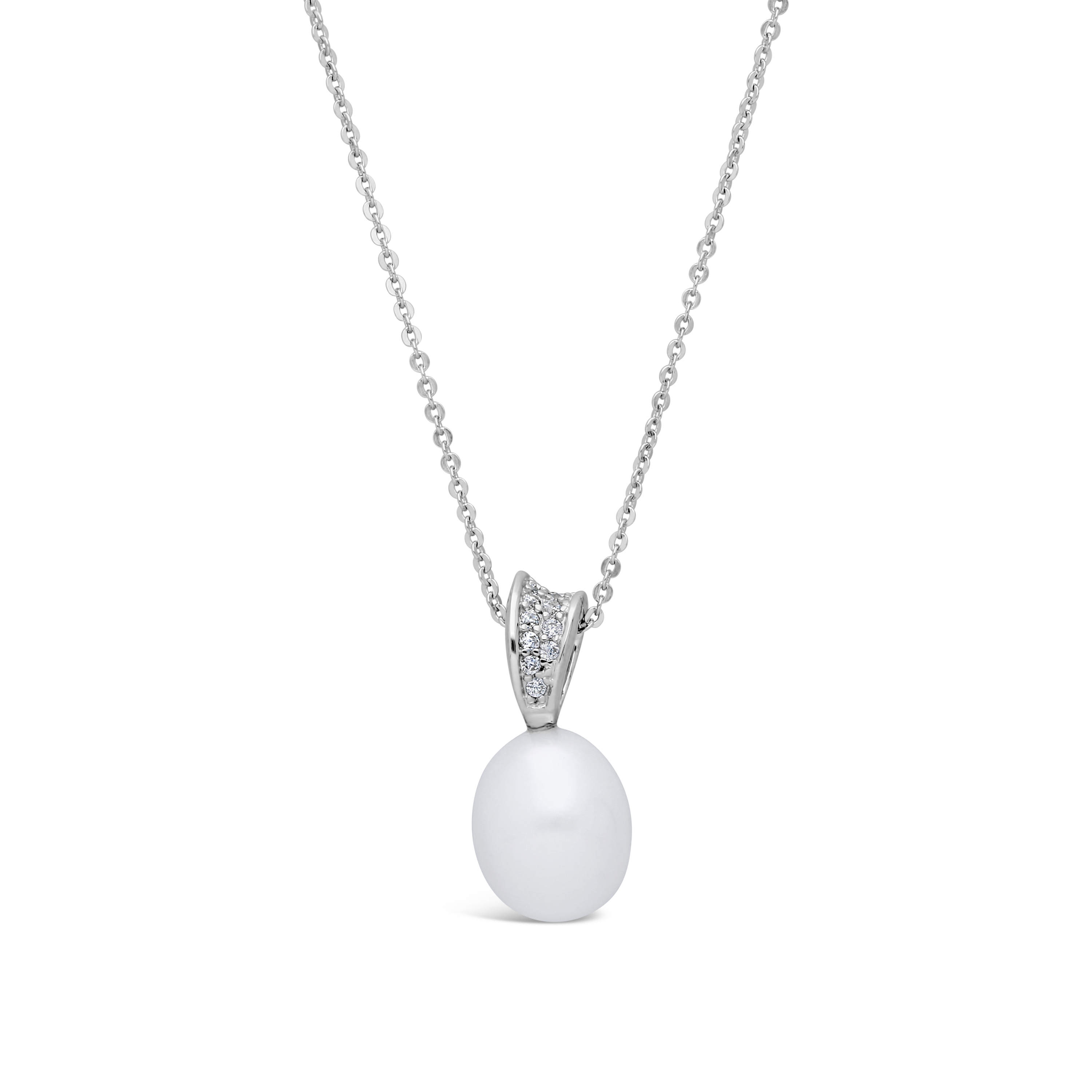 ** NEW ** 9ct White Gold Cubic Zirconia Freshwater Pearl Pendant and Curb Chain